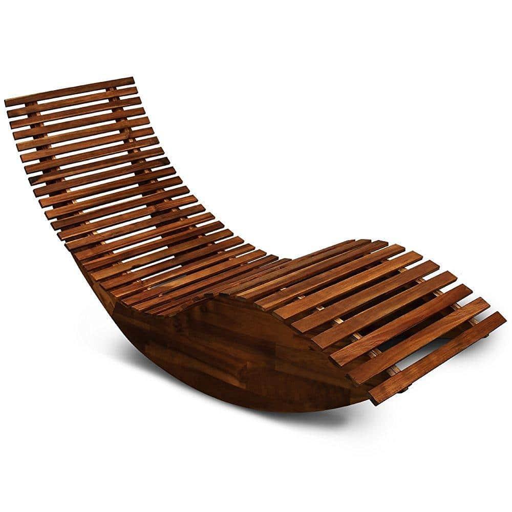 Luxusné ergonomické záhradné lehátko z agátového dreva