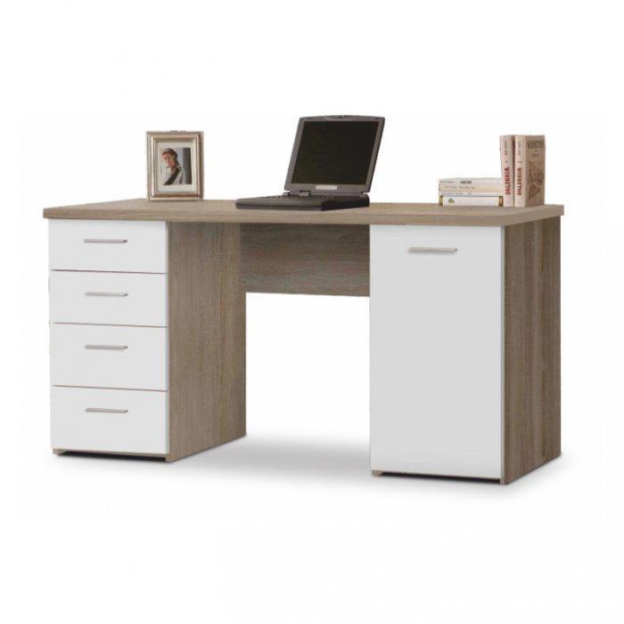 TEMPO KONDELA EUSTACH PC stôl - dub sonoma / biela