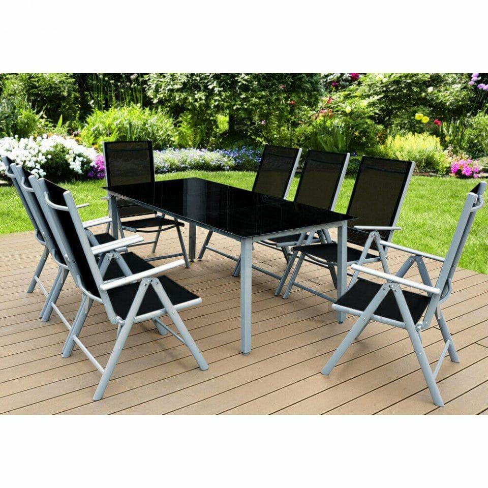 Jurhan & Co.KG Germany Hliníková sedacia súprava MILANO - stôl 190 cm + 8 polohovateľných kresiel