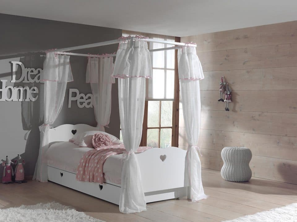 Detská posteľ Amori s nebesami 200x90 cm látková nebesá nad posteľ