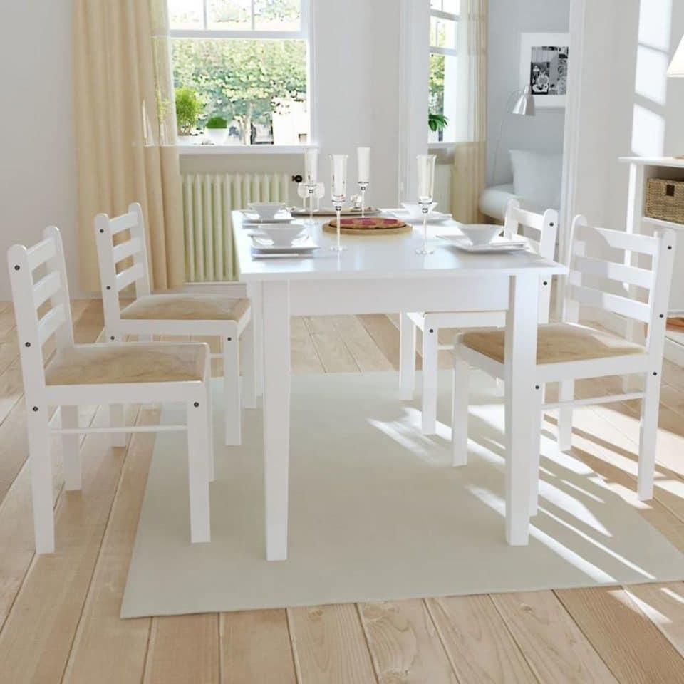 Biele drevené jedálenské stoličky, 2 ks, štvorcové