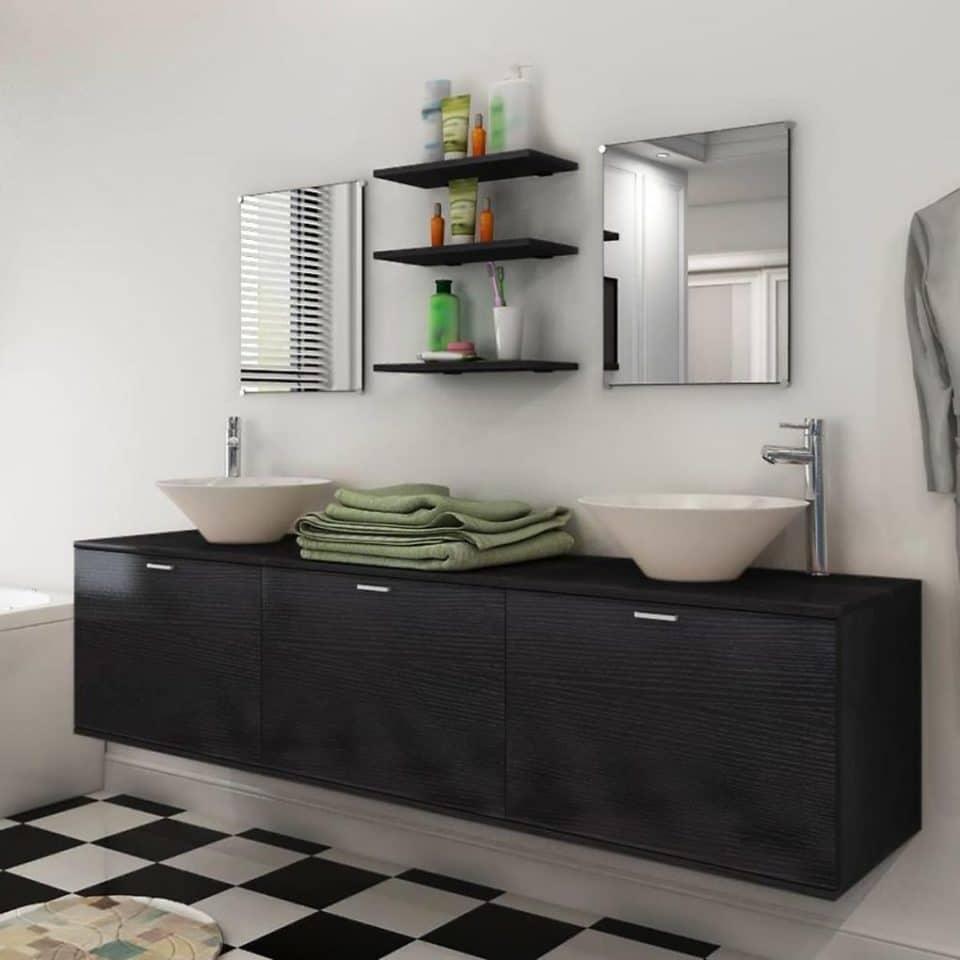 VidaXL 10-dielna čierna sada kúpeľového nábytku s umývadlom a batériou