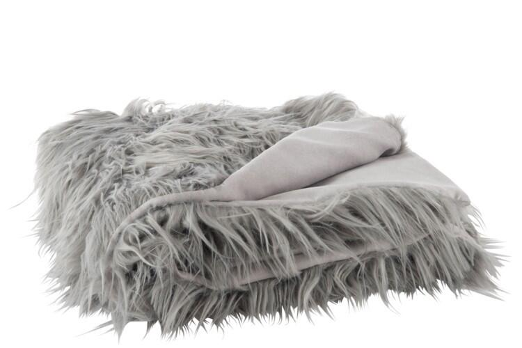 Šedý chlpatý pléd Yetti - 150*170 cm