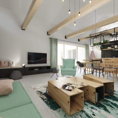 Farmhouse_obyvacka_krb_san-marco_beton_mentolova_sedacka_vidiecky-styl_drevene-tramy_masivny-stol